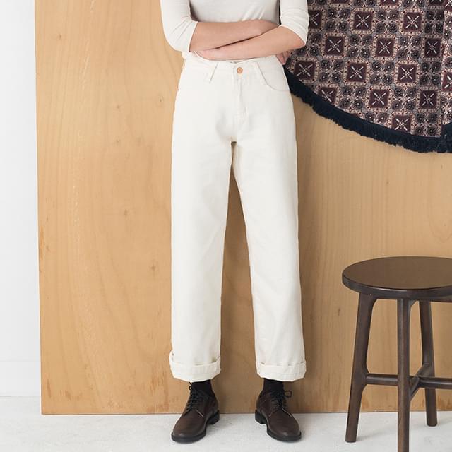 10-length straight cotton pants