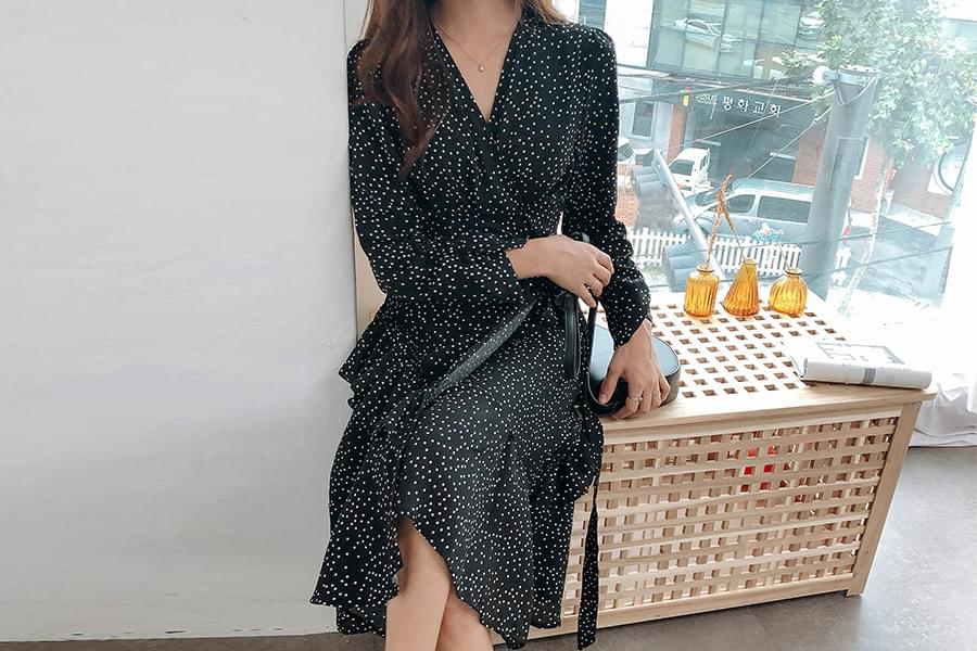 Frilly Dot Wrap Dress