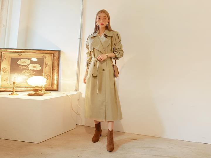 CHECK COMBINATION TRENCH COAT