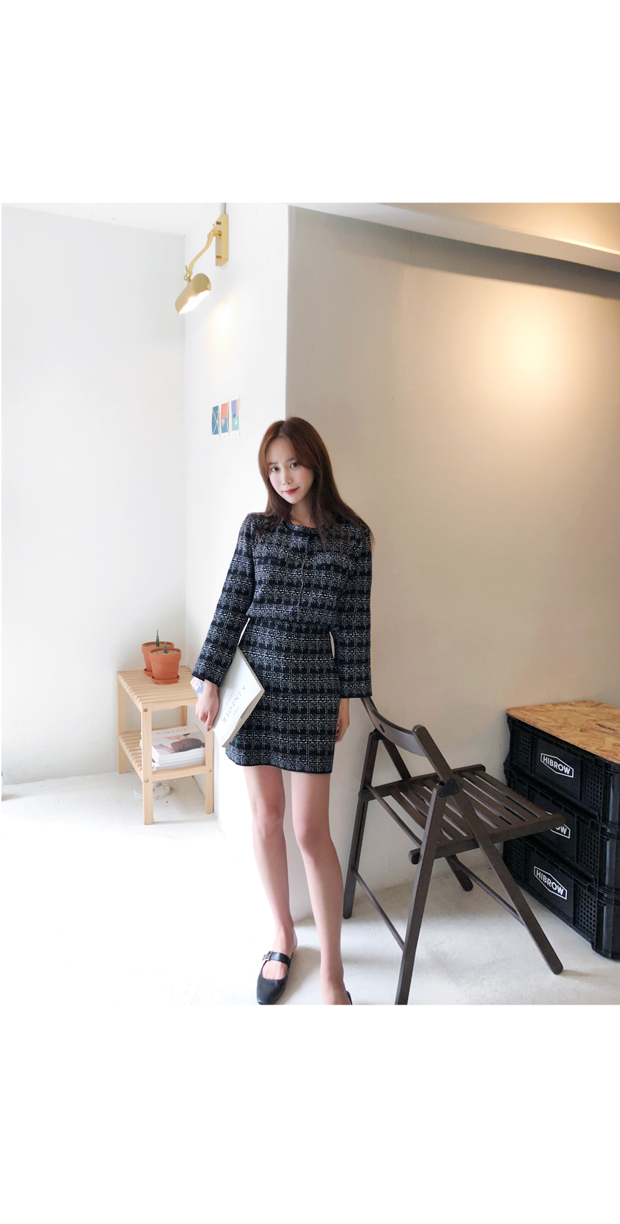 Milk coco cardigan + skirt SET