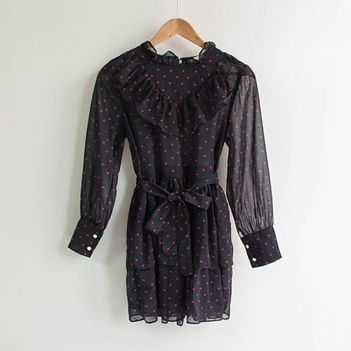 Secret Ruffle Heart Mini Dress