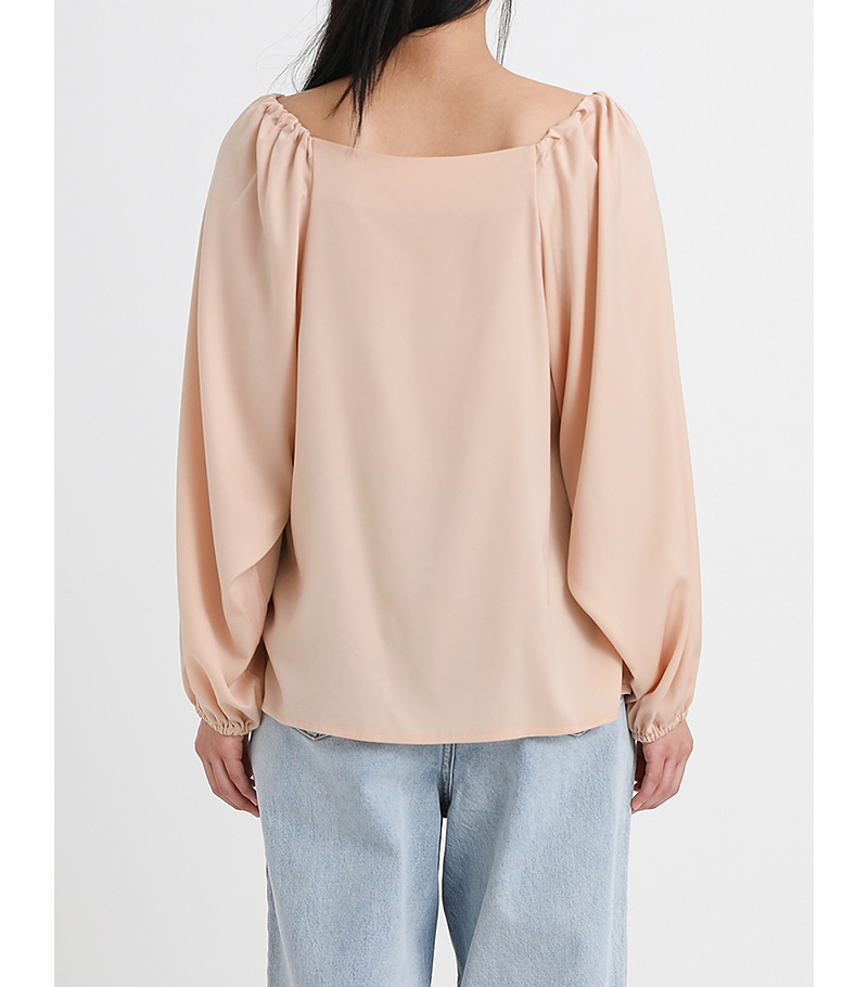 square line Shirring silk blouse (3colors)