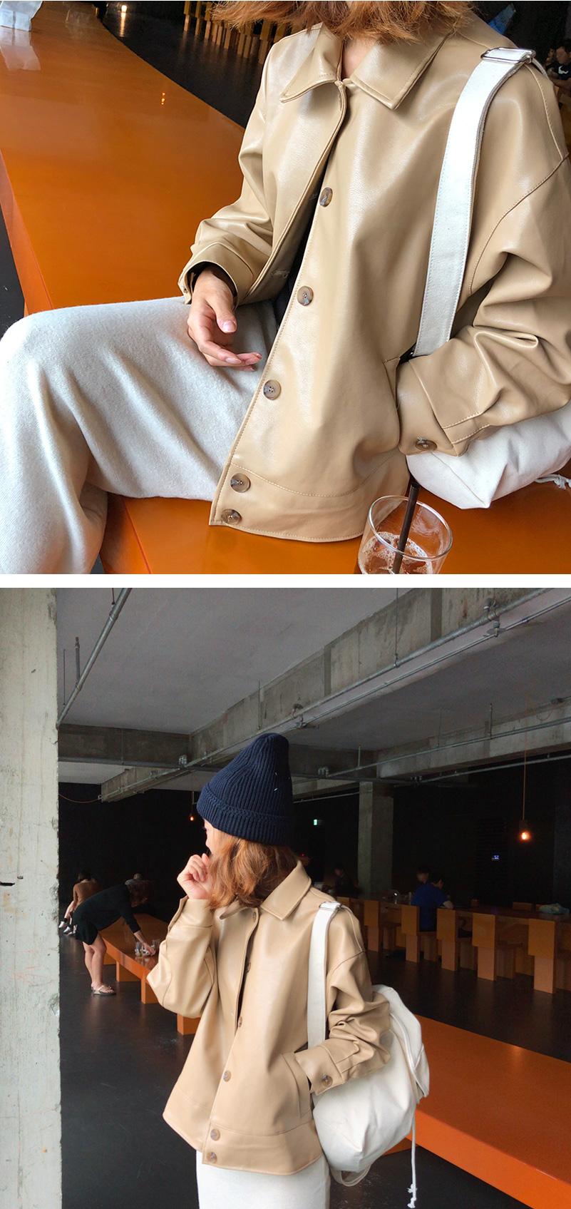 Bonita boxy leather jacket_S (size : free)