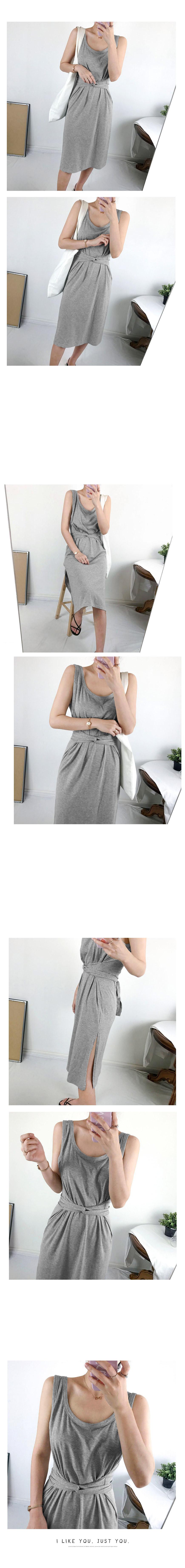Nashi belt long dress 2color