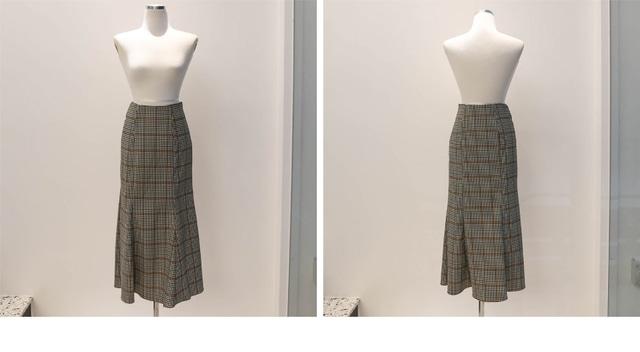 Mermaid Glam Check Long Skirt _sk002619
