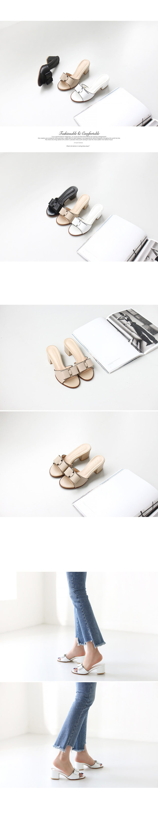 Ribbon mule slippers