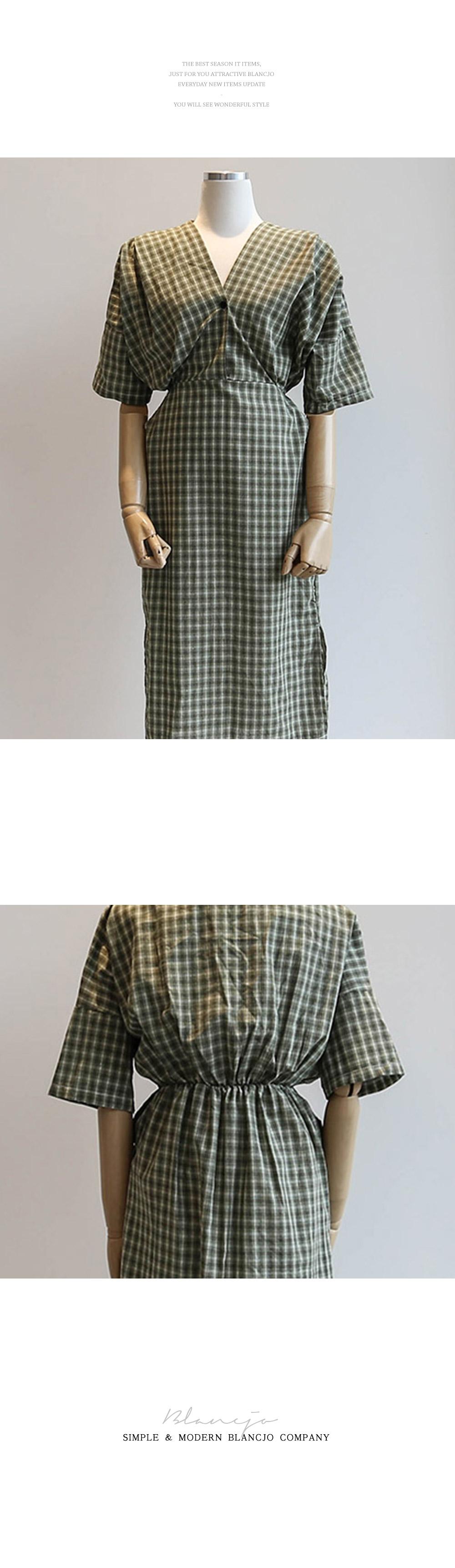 Check 7 Collar Wrap Style Basic Dress _op02557