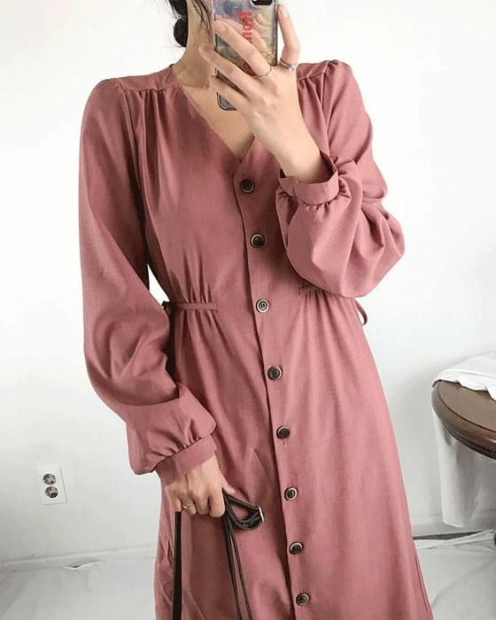 Shirring button long dress 4color