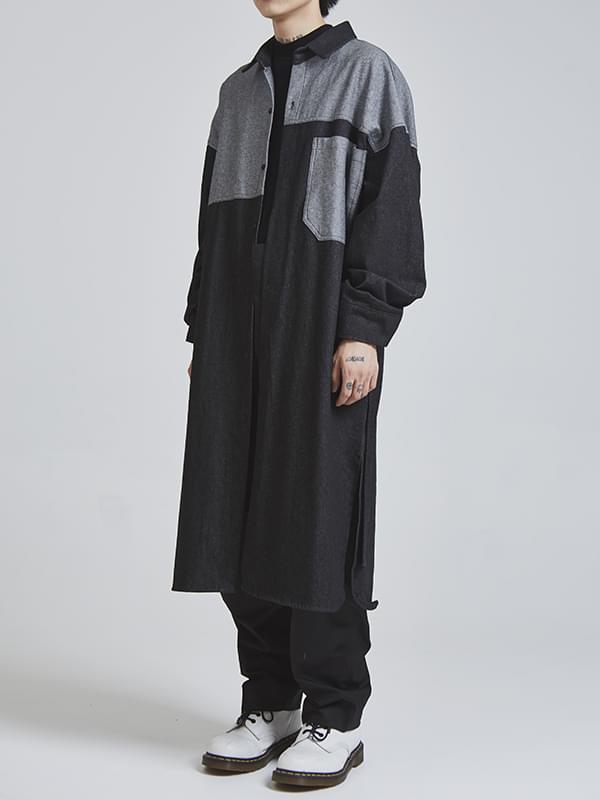 SALE belted denim long shirts - UNISEX