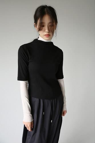 turtle neck see-through top (4colors)