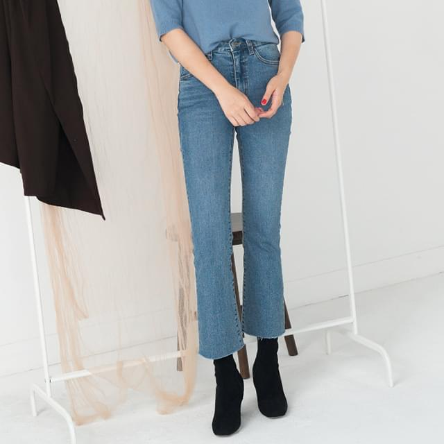 easy semi boots-cut denim pants