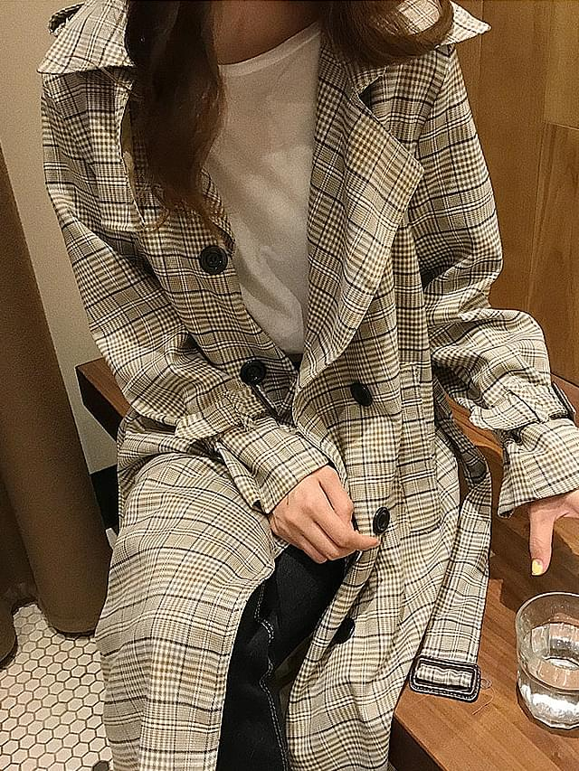 Double check ribbon trench coat