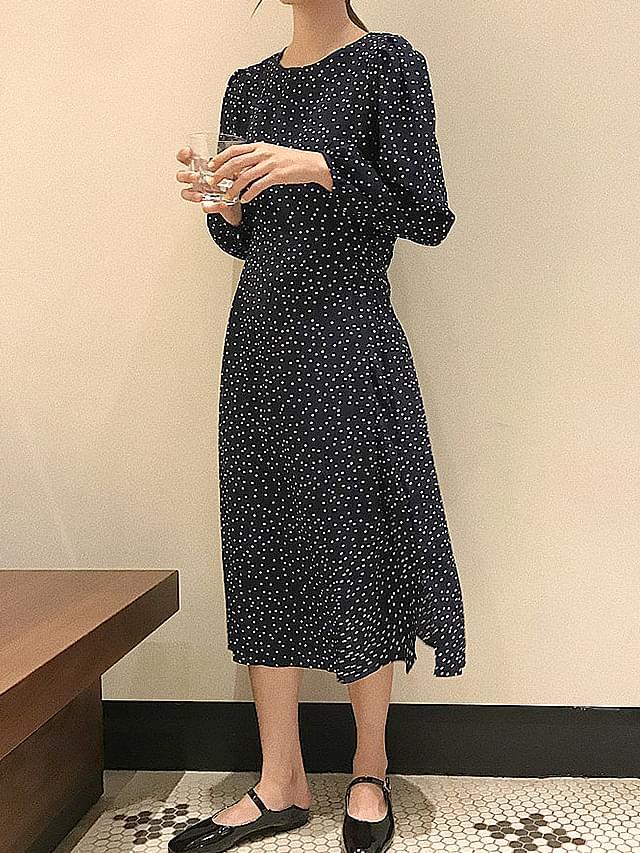 Modern Puff Ribbon Dot Long Dress
