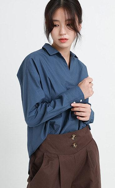 opening v-neck shirt (3colors)