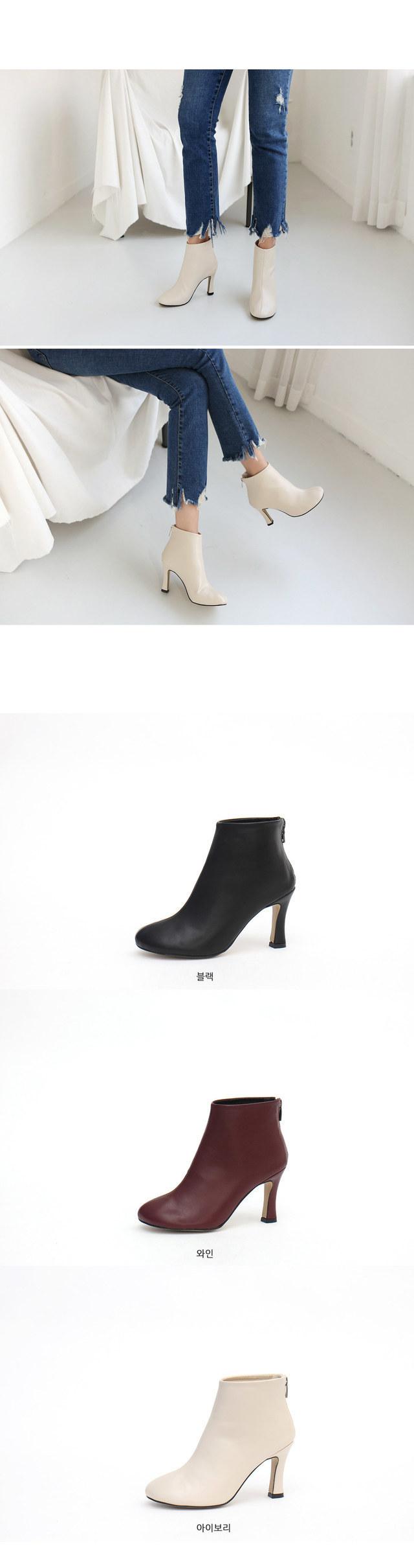 Line rear zipper Ankle boots 8cm