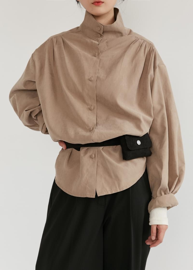 High neck mat blouse