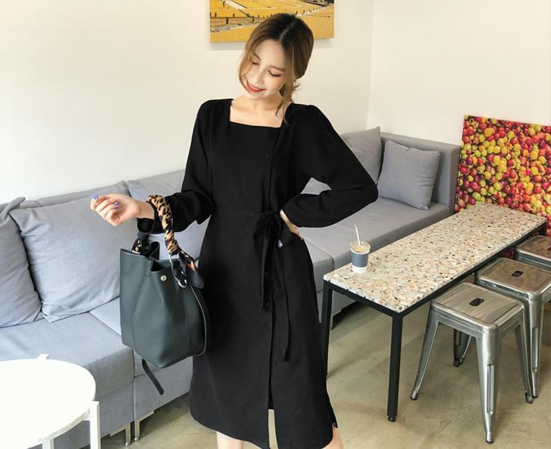 Plain Button Dress