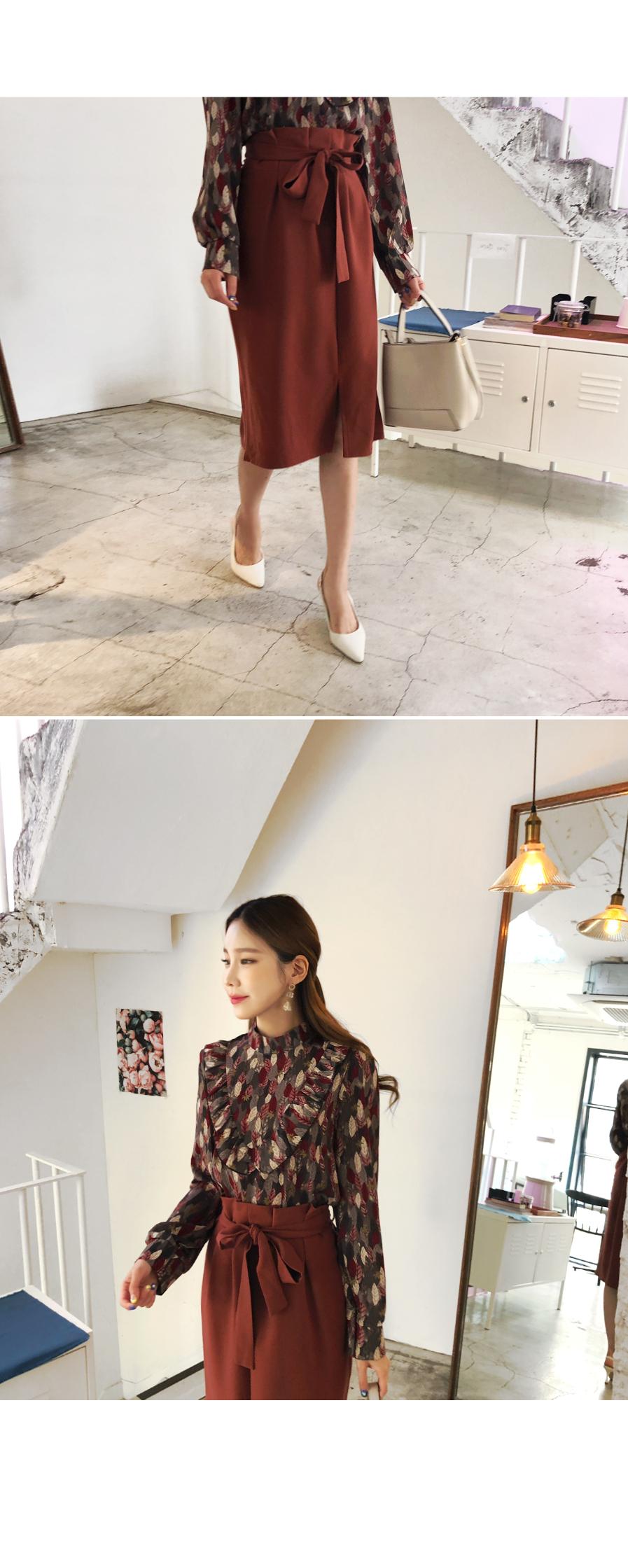 Slim fit ribbon skirt