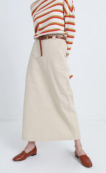 h-line cotton maxi long skirt (3colors)