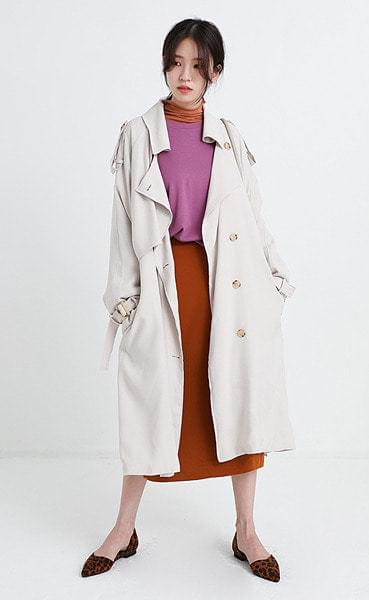 twill rayon trench coat (3colors)