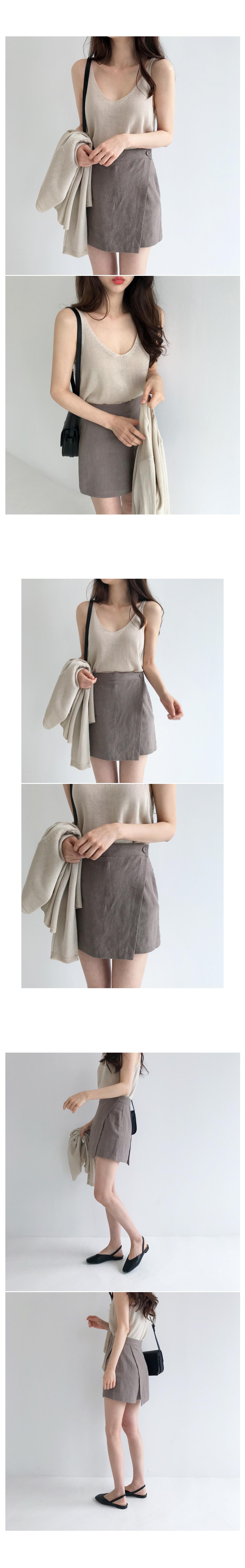 Shadow linen wrap shorts