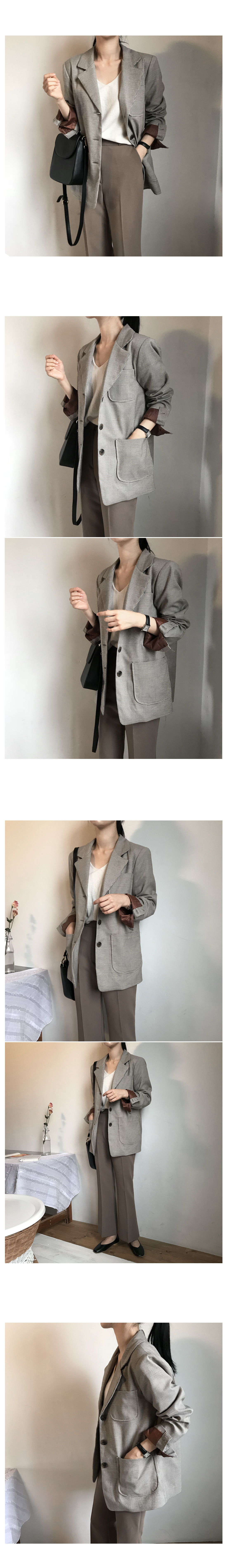 Pastel check jacket - brown