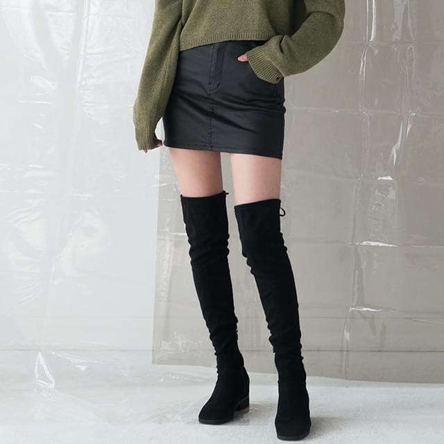 slim fit coating mini skirt