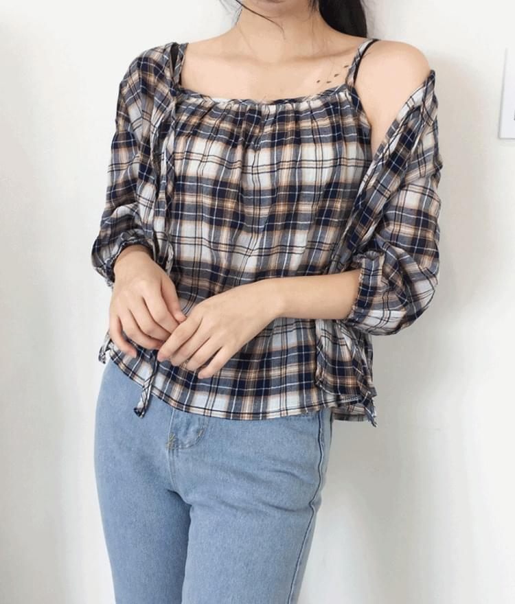Checked Sleeveless Cardigan SET