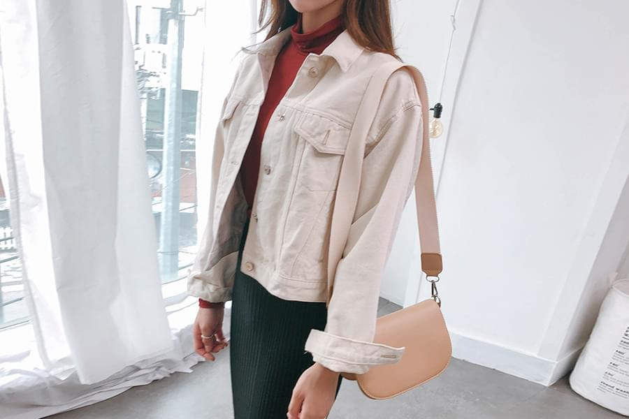 Oatmeal mini-denim jacket