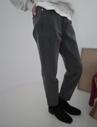 slim straight grey denim
