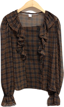 Choco square check blouse
