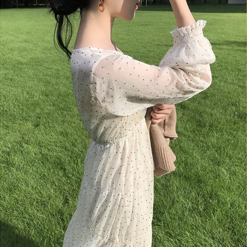 See-through dots long dress