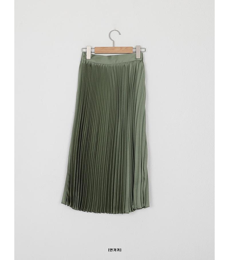 shine pleats banding skirt