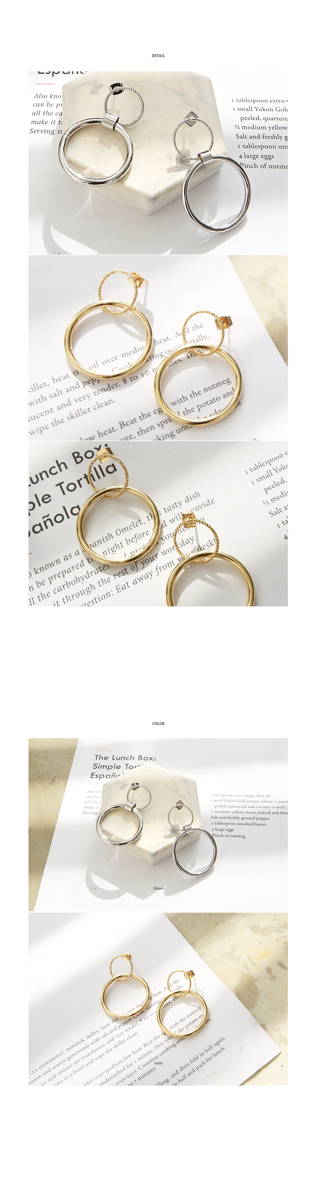 [JEWELRY] TWO CIRCLE BLING EARRING