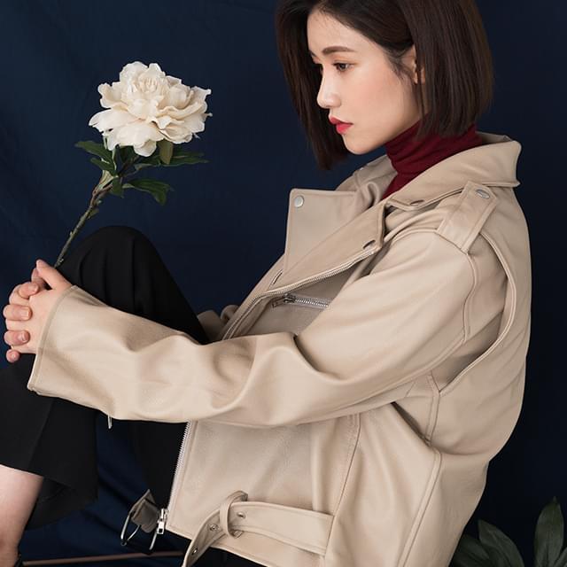 standard fit fake leather jacket