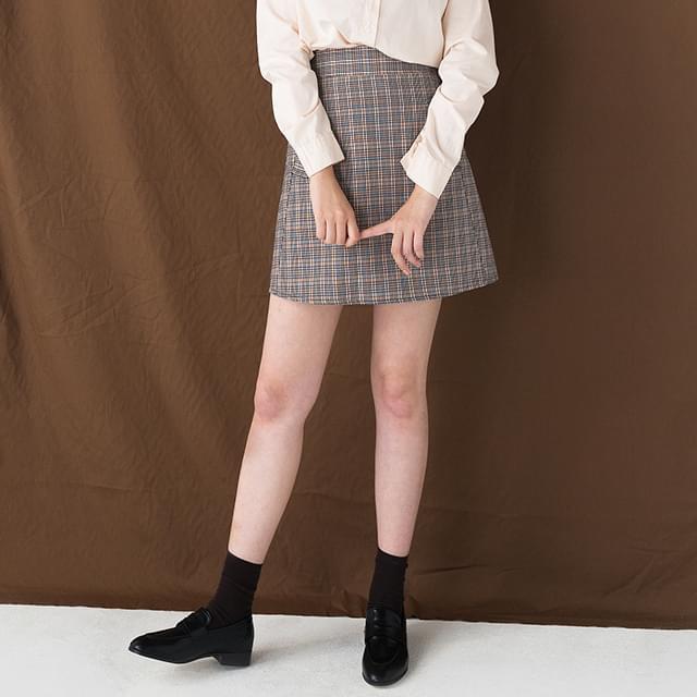 girlish check mini skirt