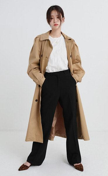 boxy puff double trench coat (2colors)