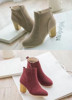 Ankle Boots Middle Heel Suede
