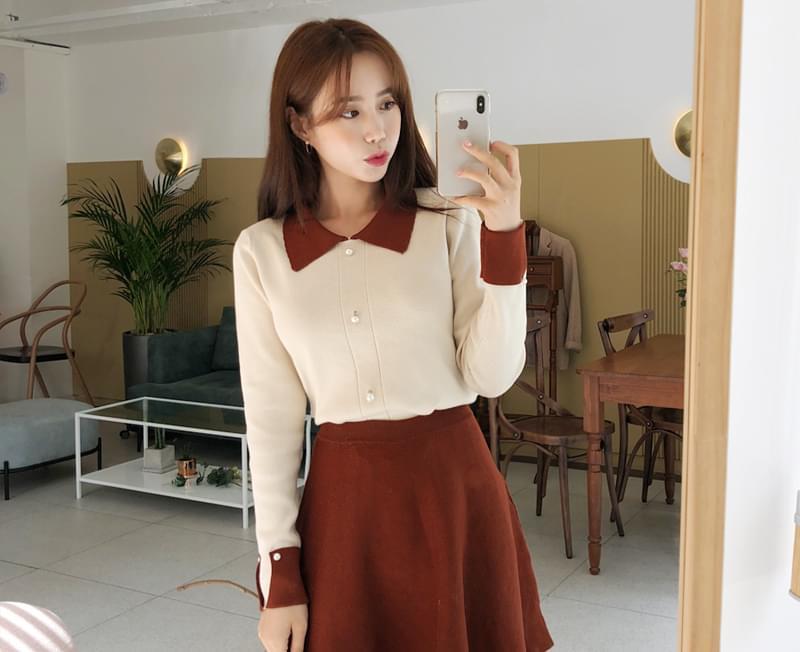 Maron girls knit + skirt SET