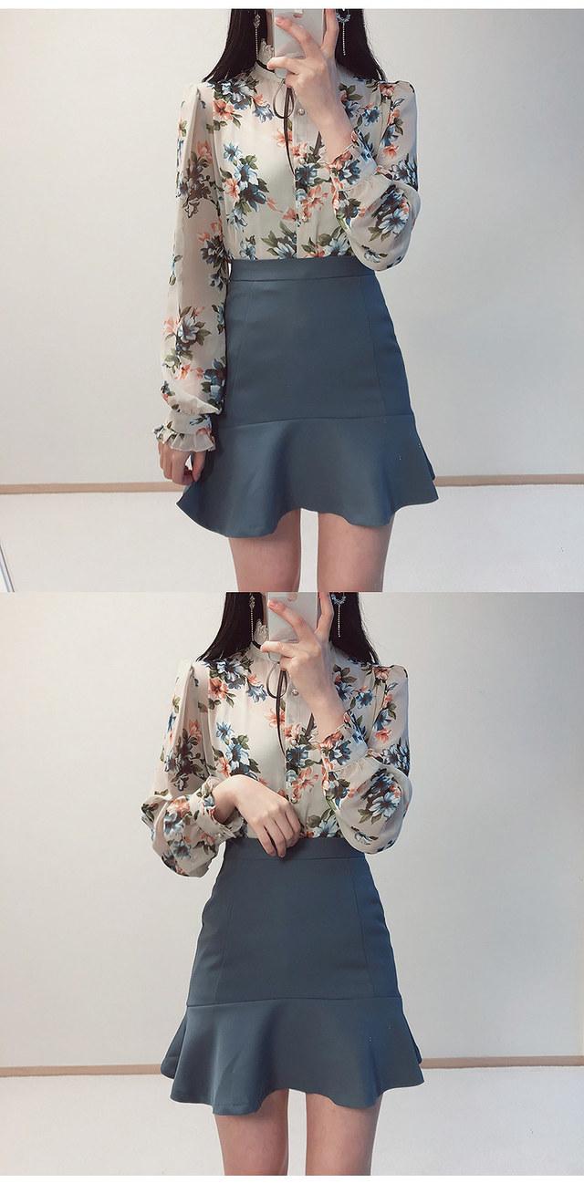 Uni flowers lace ribbon blouse