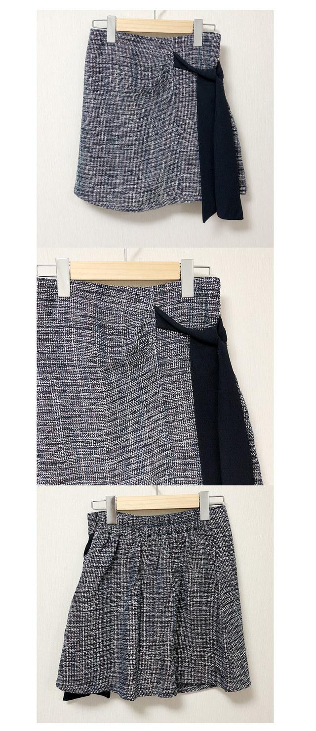 Tweed ribbon knot mini sk