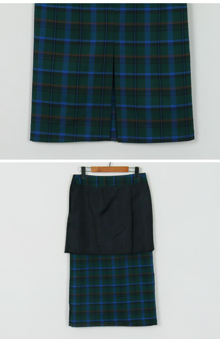Maple check slit skirt_H (size : S,M)