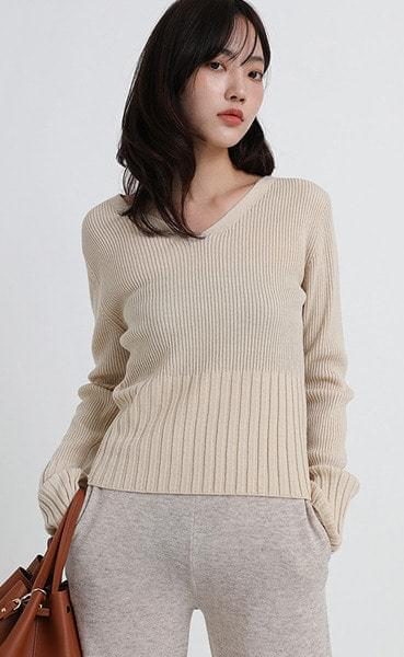 audrey golgi v-neck knit (4colors)