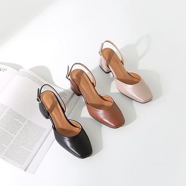 Square Slingback Middle Heel 5cm