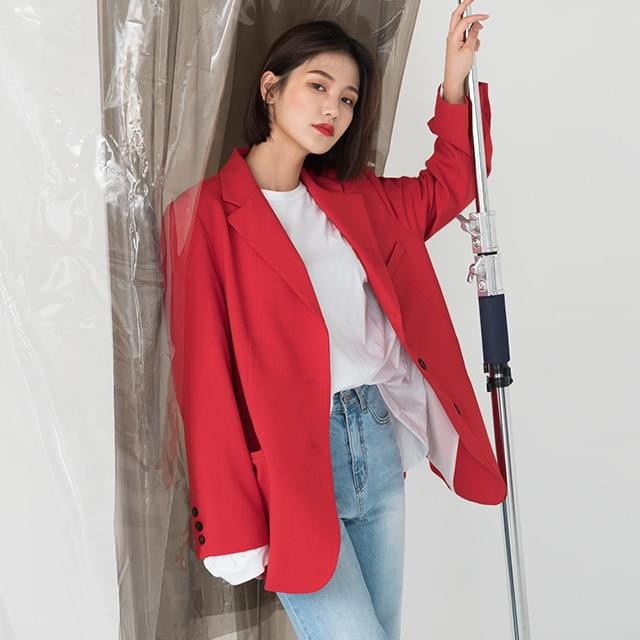 normal loose fit button jacket