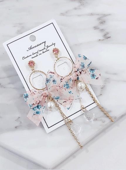Alizé flower ribbon earrings