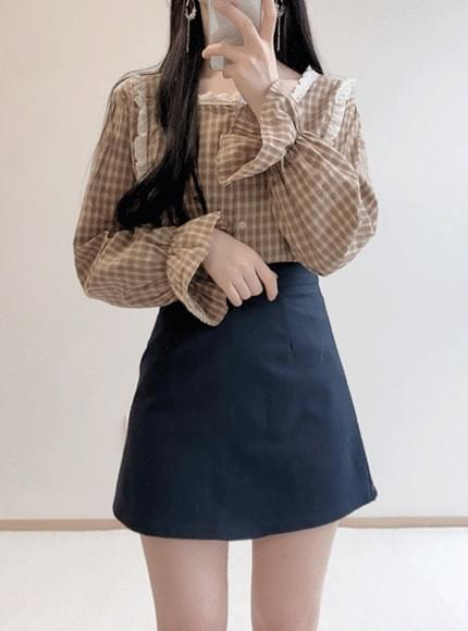 Vintage lace check blouse