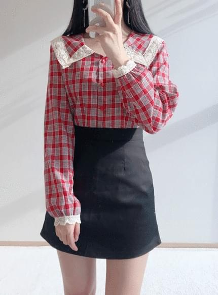 Sailor lace check blouse