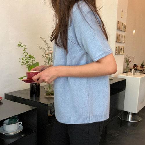 Lemongrass-cashmere short sleeve knit