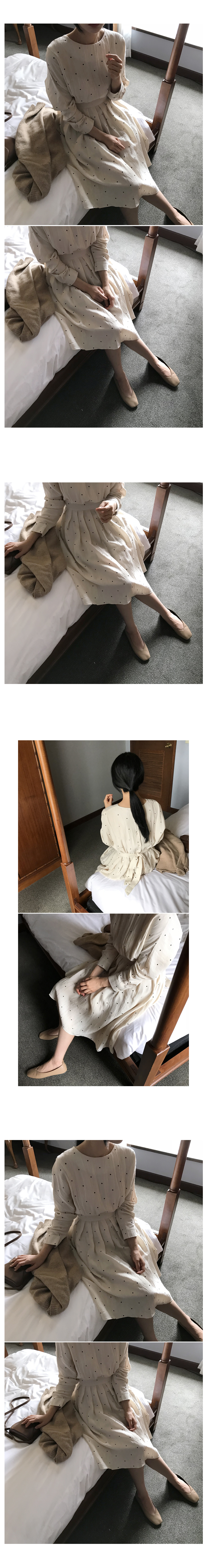 Dot back button long dress